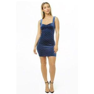 Midnight blue velvet studded mini dress
